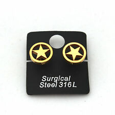 Surgical Stainless Steel Earrings Cop Star 18K Gold Plated For Womens Mens