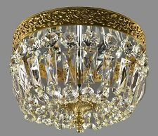PAIR AVAILABLE Italian Flush Mount Chandelier c1950 Vintage Antique Brass