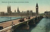 VINTAGE WESTMINSTER BRIDGE & HOUSES of PARLIAMENT LONDON POSTCARD - UNUSED