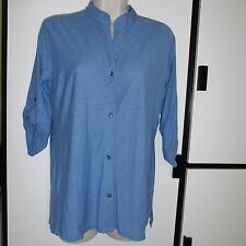 Standard James Perse Blue Button Up Collarless 3/4 Sleeve 1 Small NWT $175