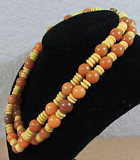 "Vintage Women's Karla Jordan Burnt Orange Bead Fashion Necklace Jewelry 34"" Long"