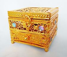 Decorative Arabian Metal Trinket Incense Box Bakhoor Burner with Drawer (Gold)