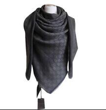 Authentic GUCCI shawl GG Guccissima 140x140 cm wool silk Scarf BNWT Dark Grey