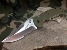 CRKT Crawford Kasper OD Green Folding Knife Satin Combo Serrated Drop Pt 6783SOD