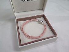 New Pandora Pink Med  Multi Strand Cord Bracelet 590715CSP M2 Gift set opt