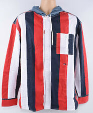 TOMMY HILFIGER Men's Stripe Hooded RELAXED Shirt, Cotton, size Medium
