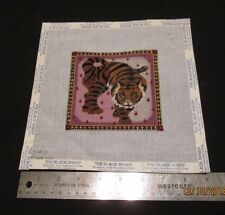 Handpainted Needlepoint Canvas of a Prowling Tiger     50 % Completed