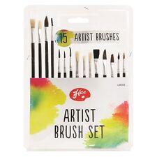 15 Piece ARTIST Paint Brush Set Piatto & PESA diverse dimensioni & lunghezza Spazzole