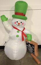 "Vintage Rare Snowman Inflatable w/ Sign ""The Most Wonderful Time Of The Year"" 5'"