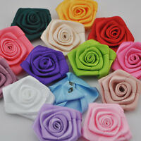 10pcs Ribbon Rose Flowers Wedding Decor Sewing Appliques DIY Crafts Upick E56