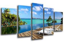 Cuadro Moderno Playa Caribe Paraiso Relax  base madera,145 x 62 cm ref. 26237