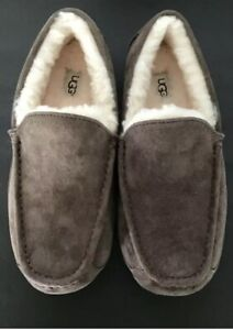 UGG Ascot Wool 3233 Men's Stout Brown Suede Sherpa Lined Moc Slippers Sz 11