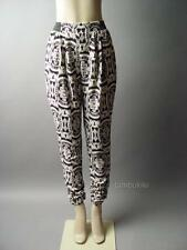 Black Ivory Ornate Baroque Tapestry Damask Pattern Casual Slouchy 89 ac Pants S