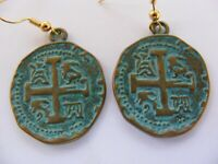 Spanish Coins Patina Earrings Reproduction Reales Cross Copper Hook Drop Dangle