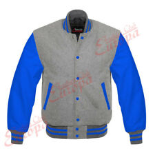 Gray Wool Varsity Letterman  Jacket with Blue Leather Sleeves