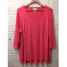 Carmen Marc Valvo Women's Size 2X Pink 3/4 Sleeve Blouse