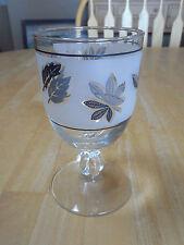 Libbey Rock Sharpe SILVER LEAF Set of 8 Glassware Goblets 5 1/2 in