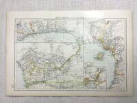 1899 Antik Map Of Colonial West Afrika Sklave Coast Congo 19th Century Original