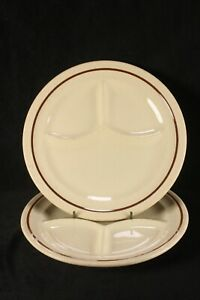 """2 Sterling Restaurant China Grille Plates 9 3/8"""" Divided Tan With Brown Band"""