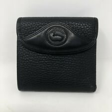 Vintage Dooney & Bourke Wallet Pebbled Leather Black Bi Fold Kisslock Coin Purse