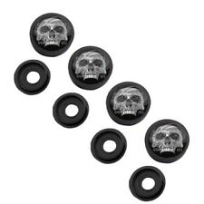 4 Black License Plate Frame Tag Screw Snap Cap Covers CHROME HALF SKULL H079
