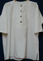 Creme weißes Leinenhemd Trachtenhemd Vorne gemustert Mittelalter