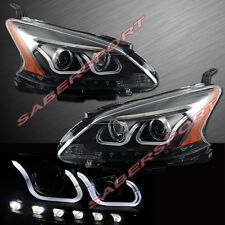 PAIR U-BAR STYLE HALO PROJECTOR HEADLIGHTS BLACK FOR 2013-2014 NISSAN SENTRA