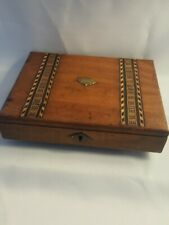Antique Walnut Tunbridgeware Inlayed Small Wooden Jewellery Sewing Writing Box
