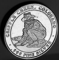 CRIPPLE CREEK PROSPECTOR CC&V CRESSON PONY EXPRESS .999 FINE SILVER .78 TROY OZ