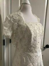 Mori Lee strapless wedding dress white lace rhinestone 14 medium