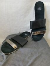 Eileen Fisher Slip On Sandals Sz 8.5 M Flats Leather Black Silver Straps Open