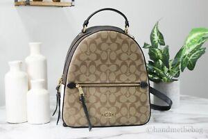 Coach (C2002) Signature Coated Canvas Block Khaki Multi Jordyn Backpack Bookbag