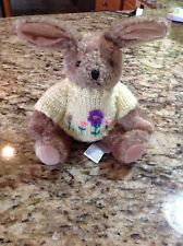 1988 Vintage Chrisha Bunny Rabbit Knitted Yellow Sweater Spring Flowers