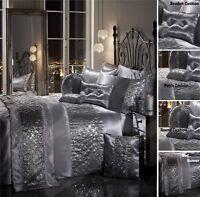 SPARKLE SEQUIN Luxury Diamante Duvet Quilt Cover Bedding Linen Set SILVER GREY