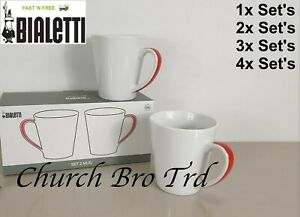 NEW BIALETTI SET OF TWO ITALIAN WHITE / RED HANDLE 300ML MUGS COFFEE CUPS
