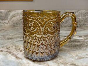 Large Coffee Mug. Amber Owl Lead Free Crystal. Light Iridescent Finish 17 oz New