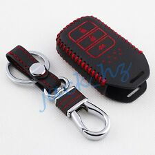 Leather Key Case Cover For Honda Accord CRV City Keychain Fob Accessories