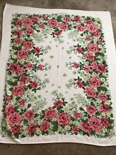 New listing Vintage 1970's Terrycloth Floral Tablecloth Retro Mod 60� X 51� Pink Roses
