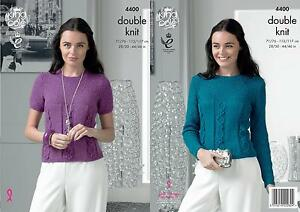 King Cole 4400 Knitting Pattern Ladies Sweater and Top to knit in Glitz DK