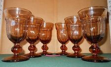 6 Amber Tobacco Depression Era Pressed Footed Glass Water Goblets Sundae #1178