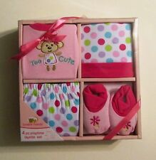 Luvable Friends 4 Piece Playtime Layette Set (0-3 months, Pink Multi)