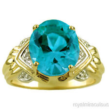 Blue Topaz & Diamond Ring Sterling Silver or Yellow Gold Plated Silver