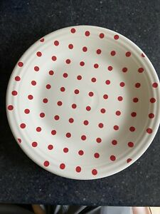 Fiesta ®️ White Dinner Plate Scarlet Red Polka Dots HLCCA 2010 Exclusive