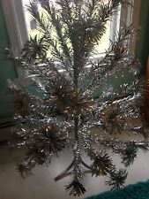 Vintage The Sparkler Pom Pom Artificial Silver Aluminum Christmas Tree 4ft Old
