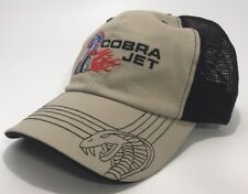 Ford Mustang Hat / Cap - Khaki/Gray & Black W/ Cobra Jet Flame Logo / Emblem
