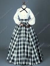Victorian Dickens Fair Dress Black Plaid Pioneer Little Women Gown Cosplay 314 L