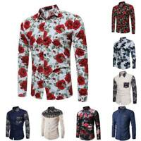 Long sleeve casual dress shirt men's floral formal t-shirt stylish slim fit