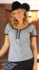 Hüftlange Damenblusen, - tops & -shirts ohne Kragen aus Baumwollmischung