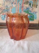 "CAMBRIDGE Glass Amber Diane  9"" Tall Oval Pillow Vase"