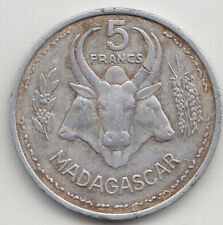 French Madagascar - Five  ( 5 ) Francs Coin